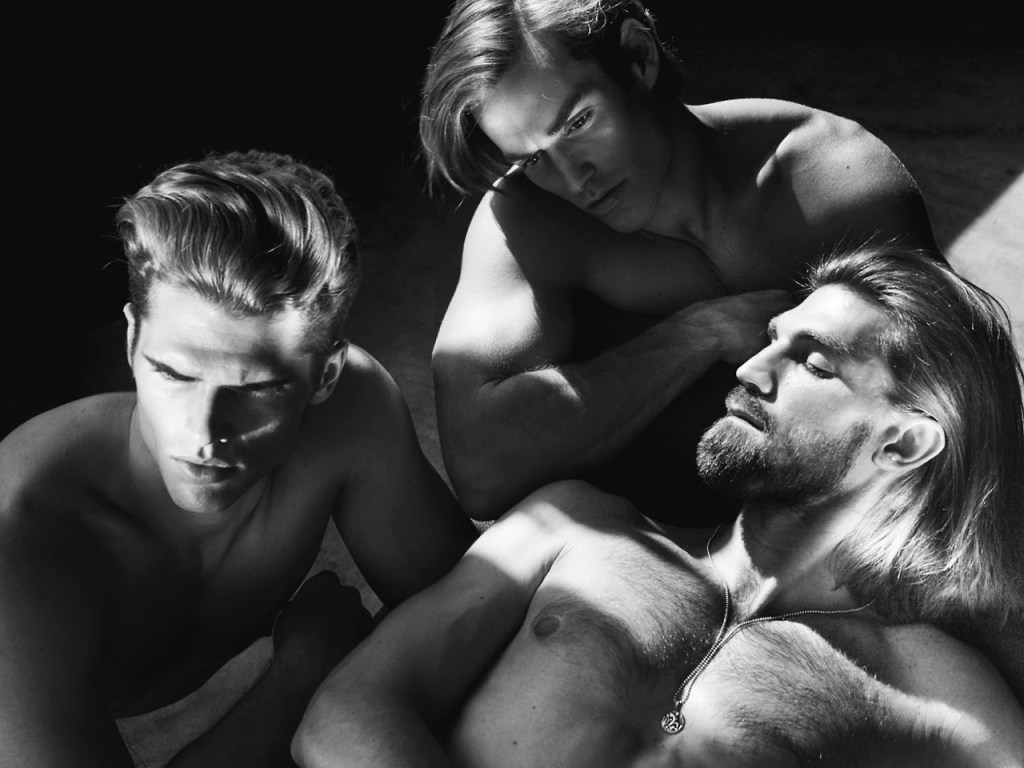 """Photography duo ChuanDo & Frey captured models Brian Shimansky, Henrik Fallenius and John Kenney in the grooming story """"LA BARE"""" for the Fall/Winter 2014 issue of L'Officiel Hommes Singapore."""