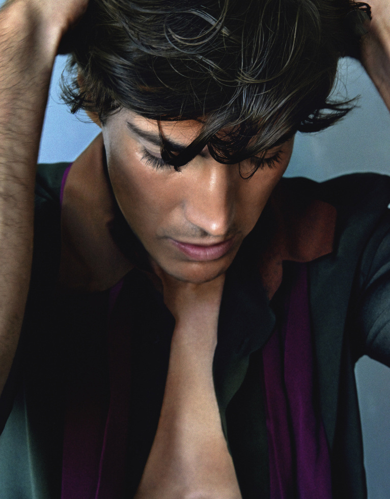 Oriol Elcacho in 'La Piscine' for GQ Portugal, November 2014. Shot by Branislav Simoncik. Styled by Jan Kralicek. Hair by Paulo Vieira. Make-up by Elodie Fiuza.