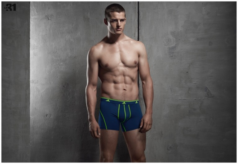 The current face of Dsquared2's spring-summer 2015 campaign, model Silvester Ruck follows up a cheeky Dorian shoot with a new outing for Canadian retailer Simons. Silvester connects with Simons for a studio shoot to highlight its latest underwear and loungewear offerings. While various underwear styles offer up a nautical theme, loungewear maintains an effortless cool in gray.