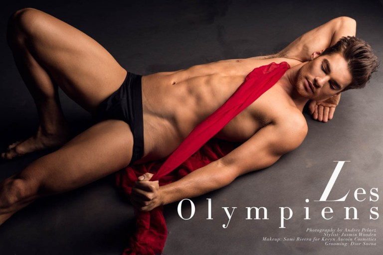 The work of Photographer Andres Pelaez is getting obsessional for Fashionably Male. We present Les Olympiens a set of portraits starring by new fresh faces Alex Raffio at ADAM Models, David Sciola at NEXT Models, Rubiel Taborda at RED NYC and Parker Pogue. The full story is styled by Jasmin Wooden and make up by Sami Rivera for Kevyn Aucoin Cosmetics and grooming by Dior Sovoa.