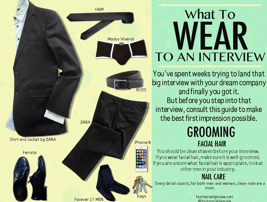 Wardrobe Essentials for Fashionably Male for an Interview Job.