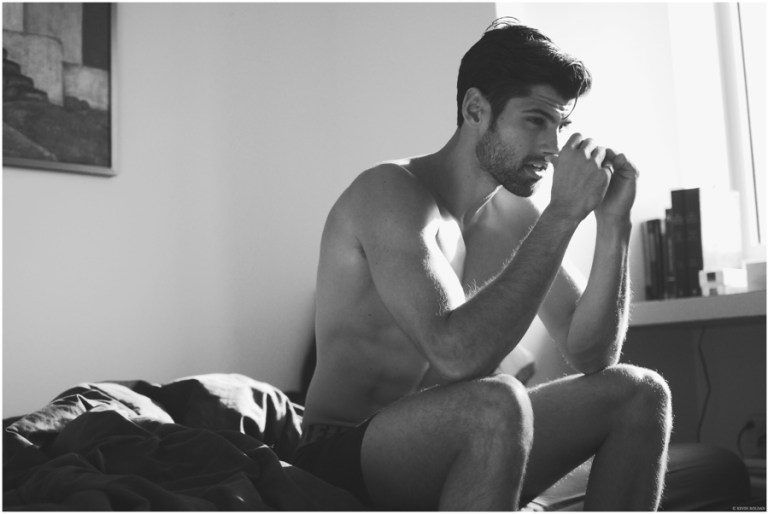 For his latest shoot, photographer Kevin Roldan links up with model Adam Caldera for a playful session that mirrors the simplicity of daily life. The Ford New York model charms as he is captured having quite the upbeat morning, Calvin Klein underwear and all.