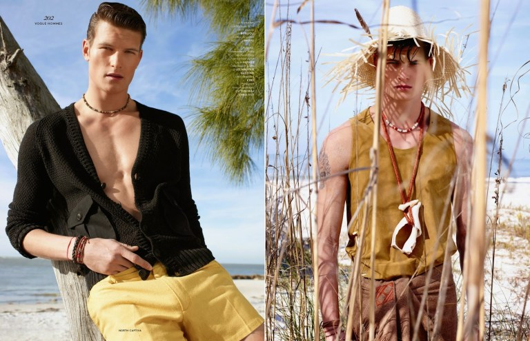 Top model John Todd stuns in a fashion story in the Spring/summer 2015 issue of Vogue Hommes, Jack Pierson and Anastasia Barbieri captured and styled John in the painteresque island of North Captiva, off coast of Florida, wearing Etro, Balmain and Louis Vuitton.