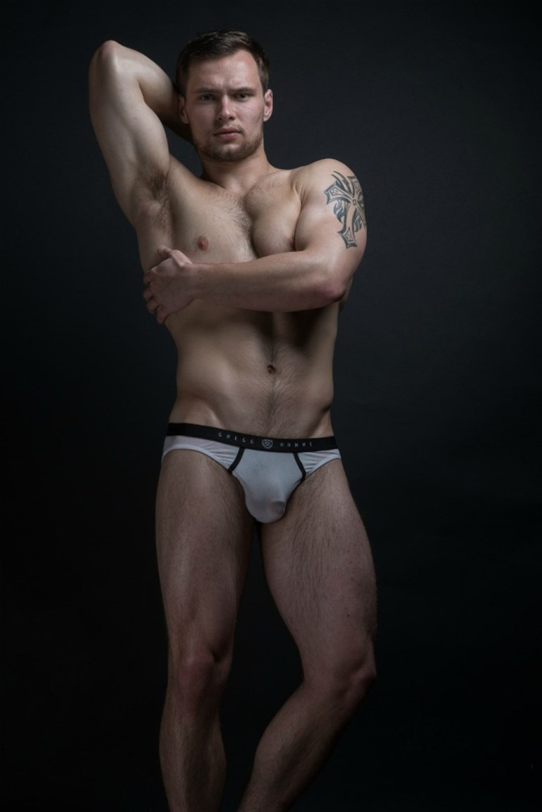 Exclusive for Fashionably Male, here's our Happy Hump Day with newcomer Alex DeRita shot by Jeffery Beasley, styled by Kai Jankovic, Alex is wearing a sexy see thru underwear by Gregg Homme.