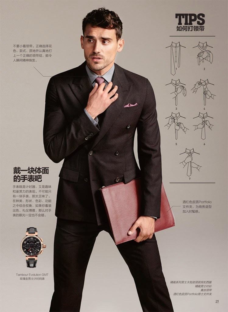 "GQ China made a fabulous ""how to"" theme explaining how to choose the right bag, how to wear the right jackets, etc. Photographed by Arnaldo Anaya Lucca. Stylist: Grant Pearce.Starring by Arthur Kulkov and Zhao Lei."