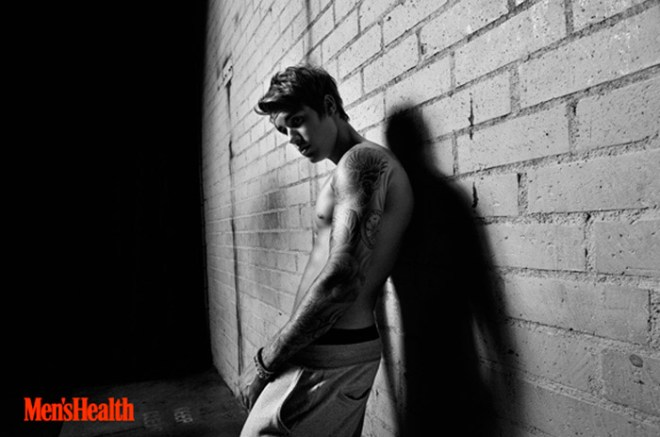 Justin Bieber cover the latest issue of Men's Health magazine, photographed by Peter Hapak.