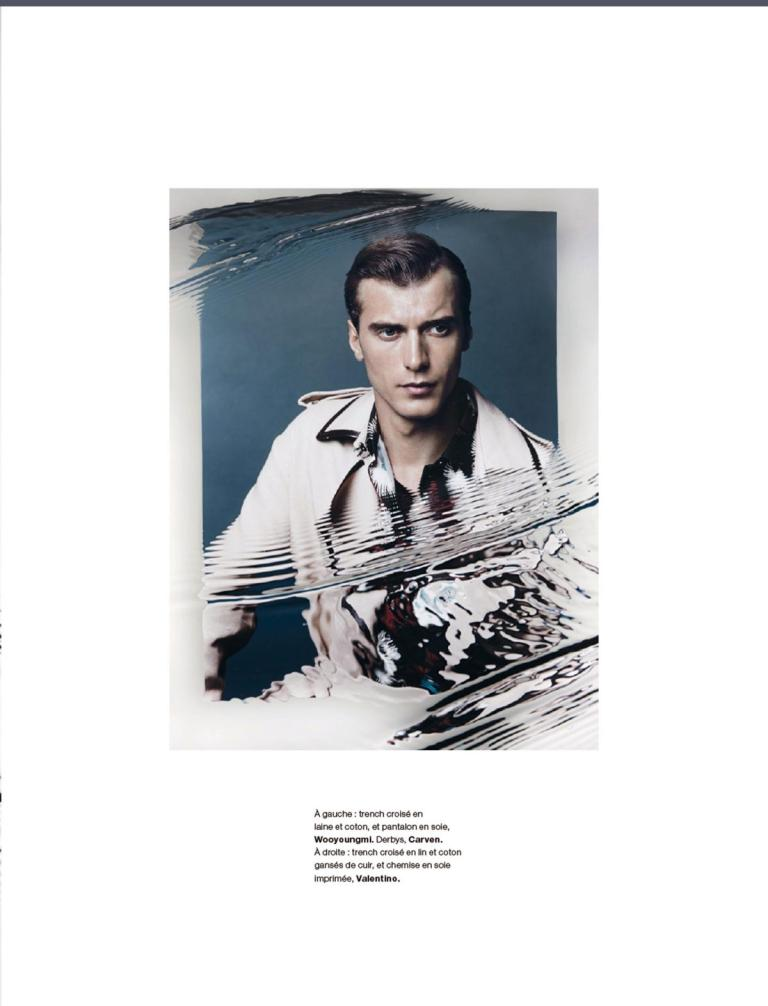 French top model Clément Chabernaud possess in a luxury fashion editorial for Numéro Homme No. 29 S/S 2015, photography by Jacob Sutton and stylist is Jean Michel Clerc.
