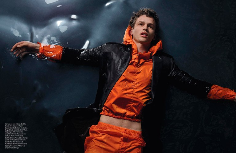 Top model Simon Nessman photographed by Jean-Baptiste Mondino and styled with pieces from Lanvin, Giorgio Armani, Dsquared2, Bottega Veneta, Louis Vuitton and more, for the latest issue of Numéro Homme magazine.