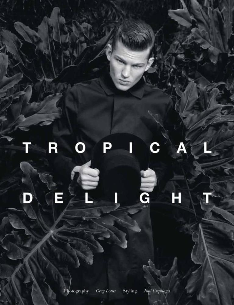 American hunk Sebastian Sauve graces the cover & stars in Tropical Delight story for the March issue of Manifesto Magazine. The blue-eyed boy is shot by Greg Lotus & styled by Jimi Urquiaga wearing pieces from designers such as Dries Van Noten & Roberto Cavalli