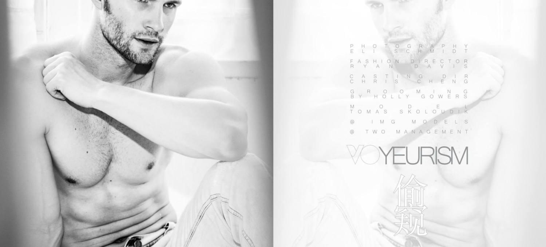 LAB A4 Magazine #8 Voyeurism 偷窥 // PH: Eli Schmidt Photography, Fashion Director: Ryan Davis, Casting Dir: Chris Cheng, Grooming: Holly Gowers, Model: Tomas Skoloudik @IMG Models Worldwide / TWO Management
