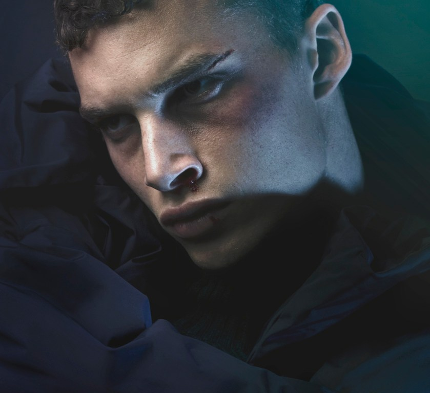 """""""Broken Beauty"""" is the new editorial by fashion photographer NYC based Karl Simone with model Louis Mayhew at DNA Model Mgmt for Carbon Copy styling by Giorgio Ammirabile and make up artist by Elizabeth Schlitt."""