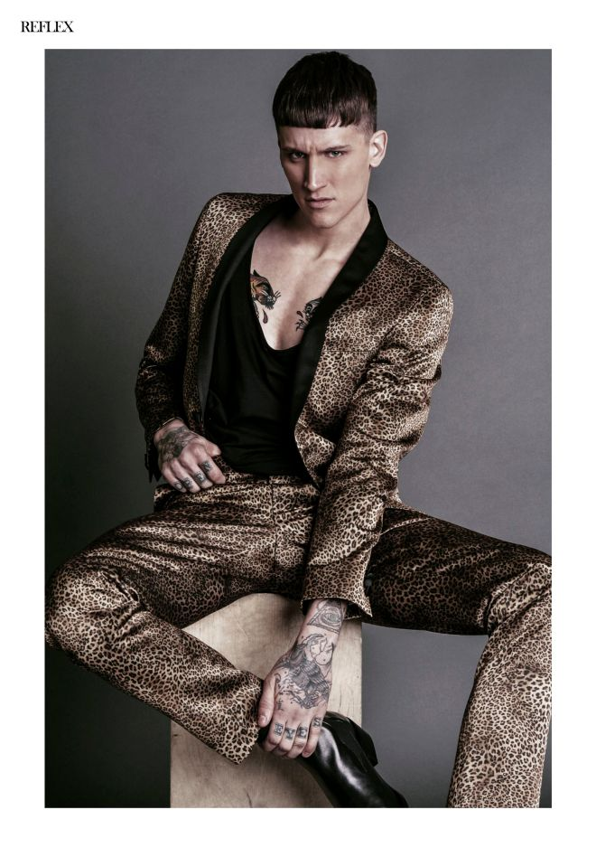Adam Model sensation Leebo Freeman is back again with a stunning fashion editorial at Reflex Homme issue April 2015 captured by Horacio Hamlet, styled by Tsemaye Opubor, grooming by Moshoodat.