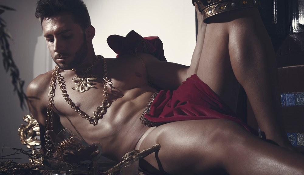 """The King"" captured by Spanish photographerJose Martinez modeling and posing like a real king Javi Olmeda, Styled by Raul Lopez Lopez."