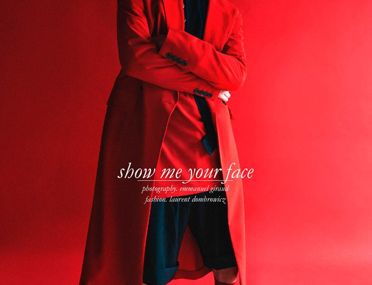 "Schön! Magazine presents ""Show me your Face"" captured by Emmanuel Giraud and Styled by Laurent Dombrowicz stars Alexander Vander Stichele in sublime luxury garments, theme black, red and white."