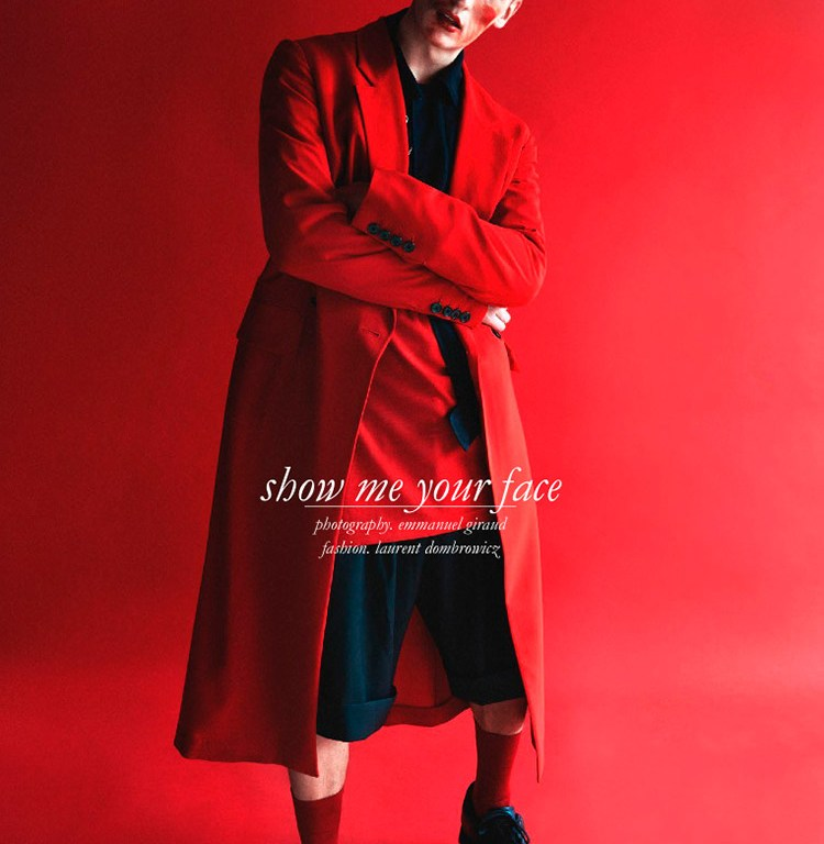 """Schön! Magazine presents """"Show me your Face"""" captured by Emmanuel Giraud and Styled by Laurent Dombrowicz stars Alexander Vander Stichele in sublime luxury garments, theme black, red and white."""