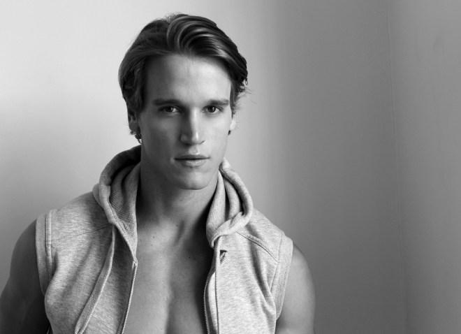 Gorgeous American model Trevor Van Uden stops by the studio of photographer JR Christiansen for a beautifully shot B&W portrait series.