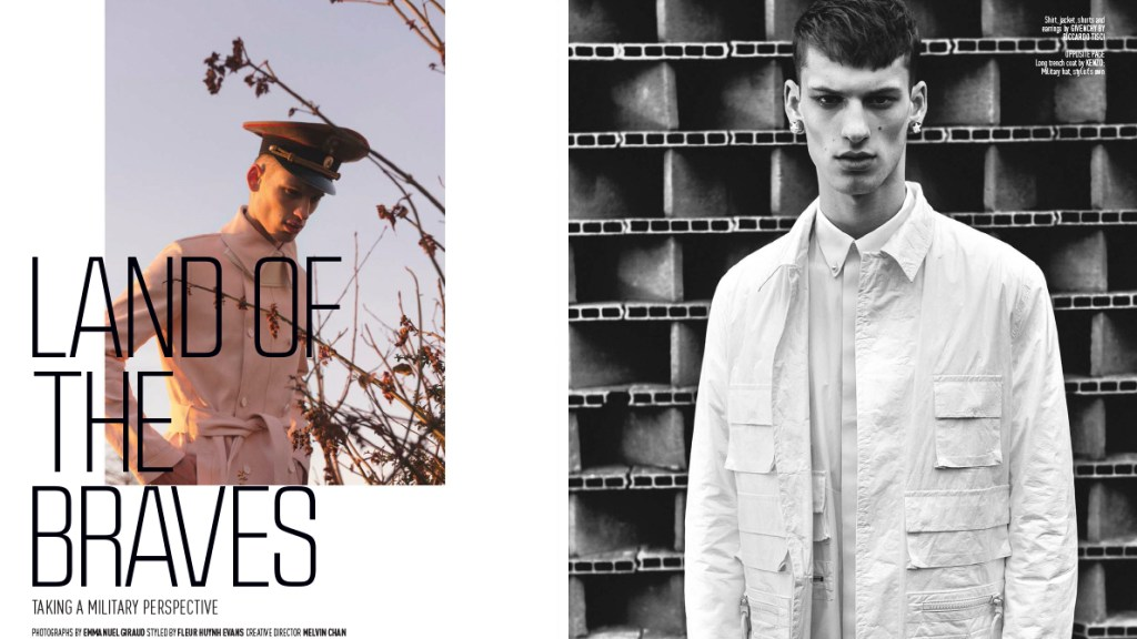 "August Man Magazine presents ""Land of The Braves"" a photography by Emmanuel Giraud and modeling David Trulík at New Madison Paris, styled by Fleur Huynh Evans and creative Director by Melvin Chan."