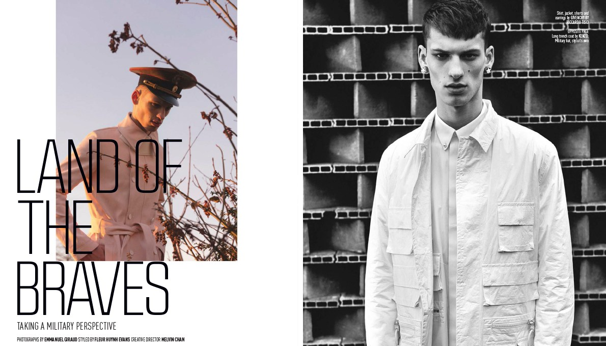 """August Man Magazine presents """"Land of The Braves"""" a photography by Emmanuel Giraud and modeling David Trulík at New Madison Paris, styled by Fleur Huynh Evans and creative Director by Melvin Chan."""