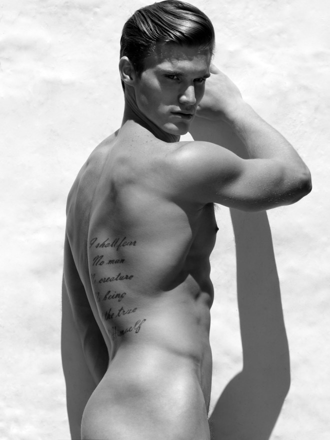 The alluring Matthew McGue at Q Models posing flawless in Calvin Klein photographed by Karl Simone for a splendid B&W portrait series.