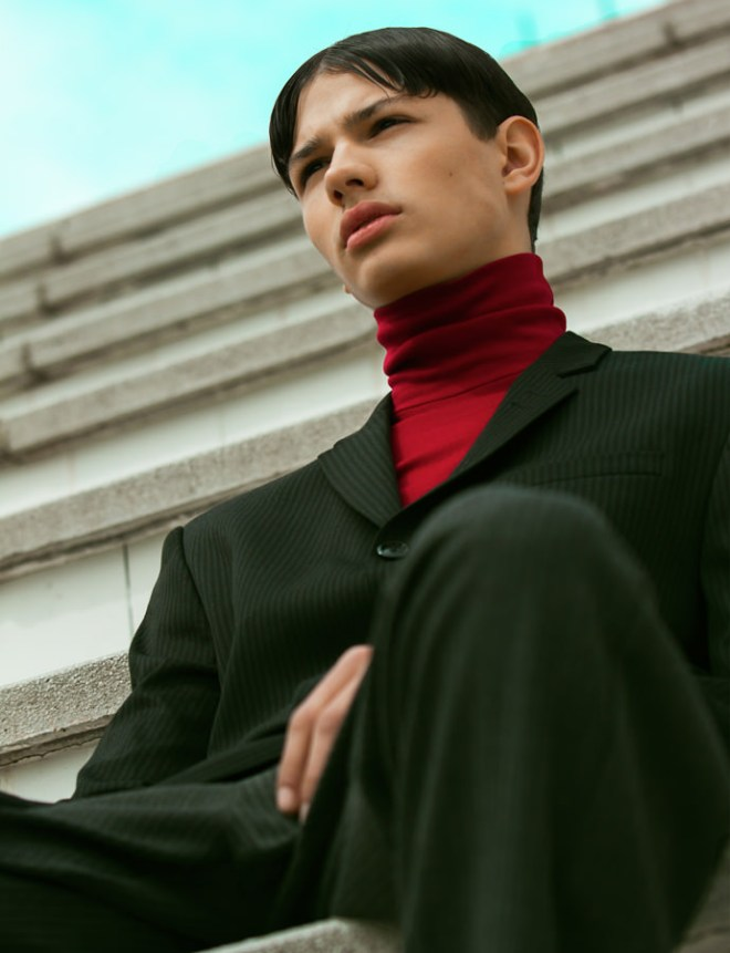 Amazing lips and neck we have model Lucas Santoni by Aylen Torres for Kaltblut Magazine styled by Rebeca Sueiro.