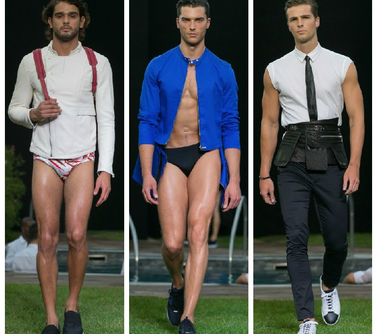 "Today starts Milan Fashion Week, obviously we're gonna post all about it. First is Dirk Bikkembergs' Spring/Summer 2016 man is on a quest for balance and overall self-renewal. Set in the gardens of Terme Milano, Bikkembergs' ""sport couture"" collection possessed references to the zen gardens of the Orient. Bamboo prints were plastered onto foulards, pocket squares, and jacquard tuxedo jackets that were paired with the tight men's swimming trunks that Bikkembergs' muscular models show off so well. Mesh cotton weave techniques were patterned into asymmetrical summer jackets. Synthetic and transparent waterproof materials were used for similar coats, injecting a hint of what Bikkembergs does best: urban sportswear. Fit for a man who has no qualms about showing off his six pack all day long, the lineup underscored the physical traits of strength and physicality through black leather arm sleeves that could be considered warrior attire or fetish clothing. Torn between his pure and fighting self, the Bikkembegrs man saw his sins and his tormented soul washed anew, when at the end of the show, bare-chested models in red trunks emerged from the hot tub – the sort of theatrical relief that makes you just want to dive right in."