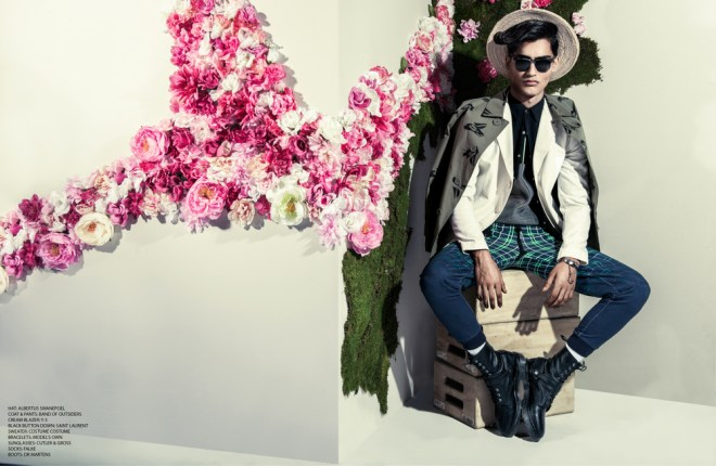 """Playhaus Magazine presents its new issue #4 coming out next week, Issue 4 is a Spring/Summer 2015 with dual cover. This first cover and story entitled """"Fauna + Flora"""" photographed by Martin Brown, with guys Models: Russell Giardina @ IMG/Masood Ahmad @ Fusion/Louis Mayhew @ DNA all styled by Chaunielle Brown"""