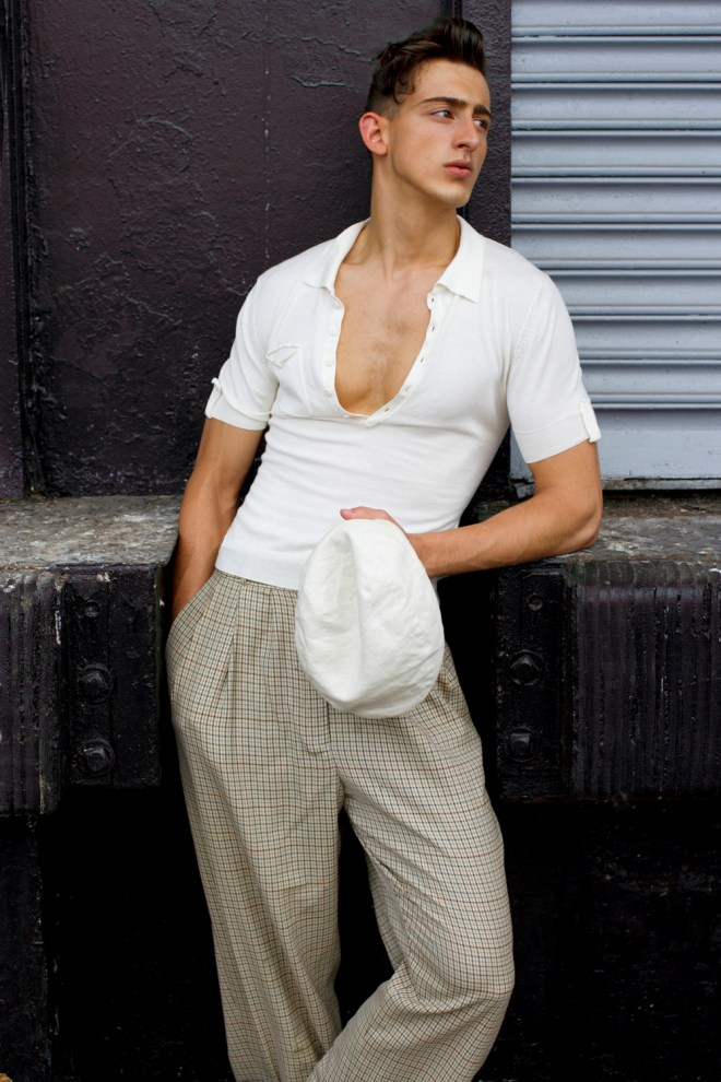 New York based fashion photographer Joseph Bleu presenting West Side Story (a swank gentleman) with Drini Korca a fresh new face, hair by Josh, styling by Monkey. Drink is with Joe Flowers Talent Management