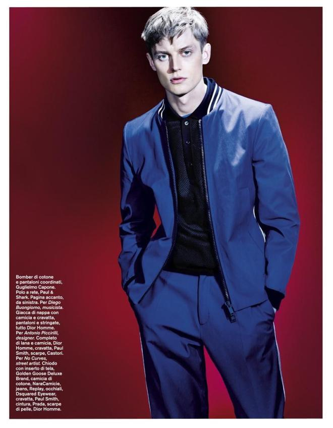 Model Janis Ancens connects with photographer Emilio Tini to shoot a studio editorial, featured in the April issue of D Magazine. Exploring the many facets of blue, one of the most loved colors in menswear, Janis is styled by Davide Brambilla, who assembles a variegated wardrobe that combines sartorial suggestions with sportswear elements and functional designs.