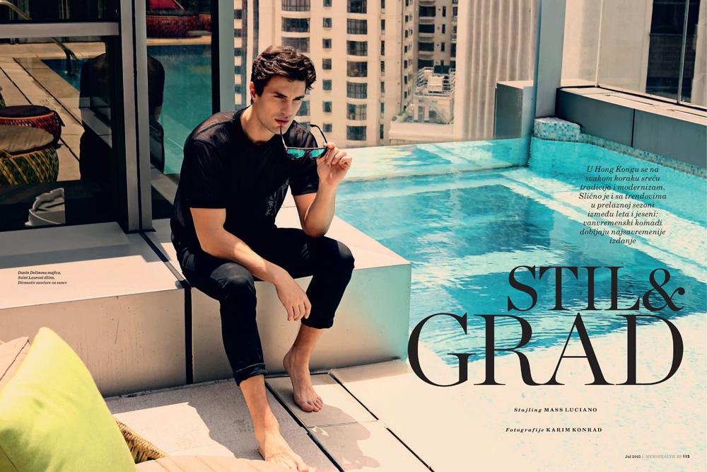 """Stil & Grad"" new editorial for Men's Health Croatia/Bosnia/Serbia shot by Karim Konrad with model Uros Gopic."