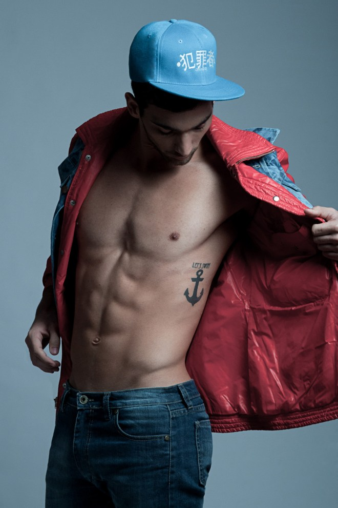 Up and comer photographer Jo Herrera is sharing this stunning work with male model Ramiro from EB talent shooting at Studio Gonzalo Pepe. Ramiro wears Suicidal Trend, Customix, Crimes Crimes, Levi's , Lime Swimwear.