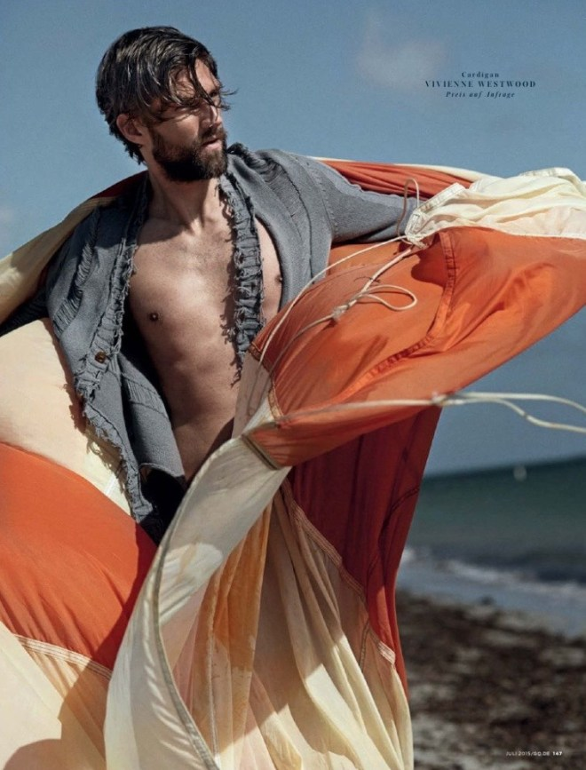 Model RJ Rogenski lands on the pages of the July edition of GQ Germany, starring in a new editorial, lensed by photographer John Balsom. Playing the role of the stylish survivor, RJ explores the solitary nature that surrounds him, wearing a wardrobe that includes fashions from the likes of Prada, Dries Van Noten, Louis Vuitton and other luxury labels, pulled together by stylist Grant Woolhead.