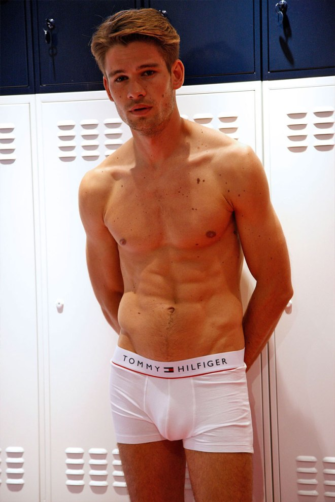 Tommy Hilfiger has built a locker room during London Collections: Men to present the Spring/Summer 2016 underwear line.