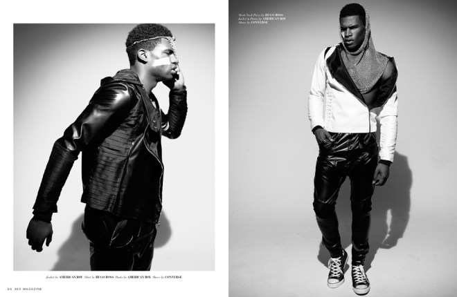 """International top model  Broderick Hunter at Soul Artist Management starring """"Trade & Play published at XEX Magazine's Noir Edition. Photography by Dallas Logan, styling by Butch Johnson, location at Lumina8 Studios, Brooklyn."""