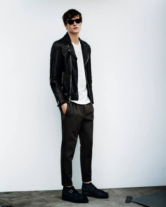 The Conroy Leather Biker, Figure Crew T- Shirt and Tallis Trouser http://goo.gl/h0IX6Y