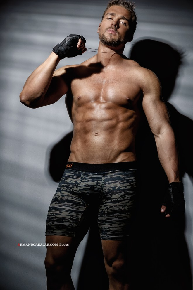 Fitness male model Antoine-Louis Raymond featugring pieces from Wood Underwear shot by Armando Adajar