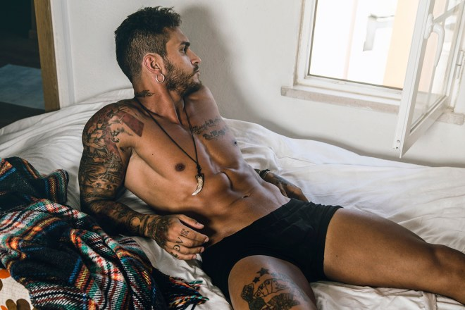Meet the gorgeous inked male model Tiago Magalhães, who rocks our screens today. Shots by David Velez.