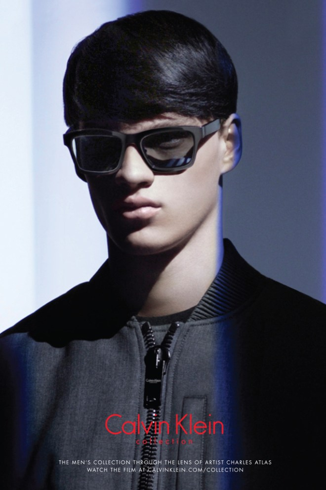 The new face of Calvin Klein Collection for the fall/winter 2015 season, model Filip Hrivnak, lends his charming features for the brand's newly released ads, shot to promote the label's fall/winter 2015 eyewear collection. Captured in close-up shots, Filip poses in the shadows, wearing Calvin Klein Collection's latest sunnies and optical frames, where innovative and lightweight materials create a clean and almost minimal style.
