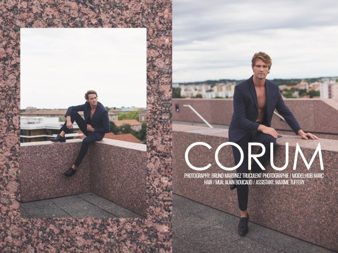 "Just in the right time, photographer Bruno Martinez presents in an exclusive for Fashionably Male, ""Corum"" entitled like this because is a conference and concert hall in Montpellier. Featuring French male model Hub Marc posing and embracing with style that roof where Bruno snapped. He's the ideal model for that with his natural elegance and I like the fact that he's French."