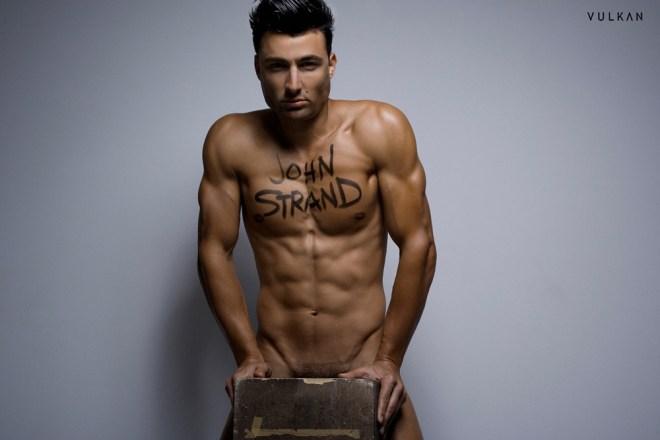 Handsome John Strand modeling for the lens of Rick Day for Vulkan Magazine.