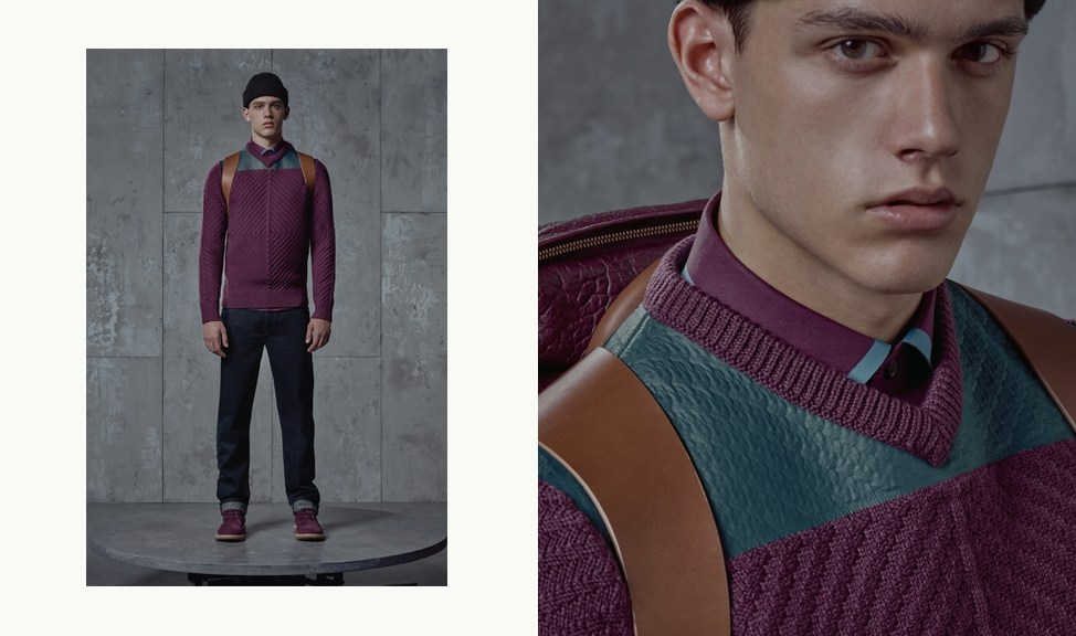 Super model Xavier Serrano (Sight Management) posing in the new F/W 2015-16 Lookbook presented by Givenchy