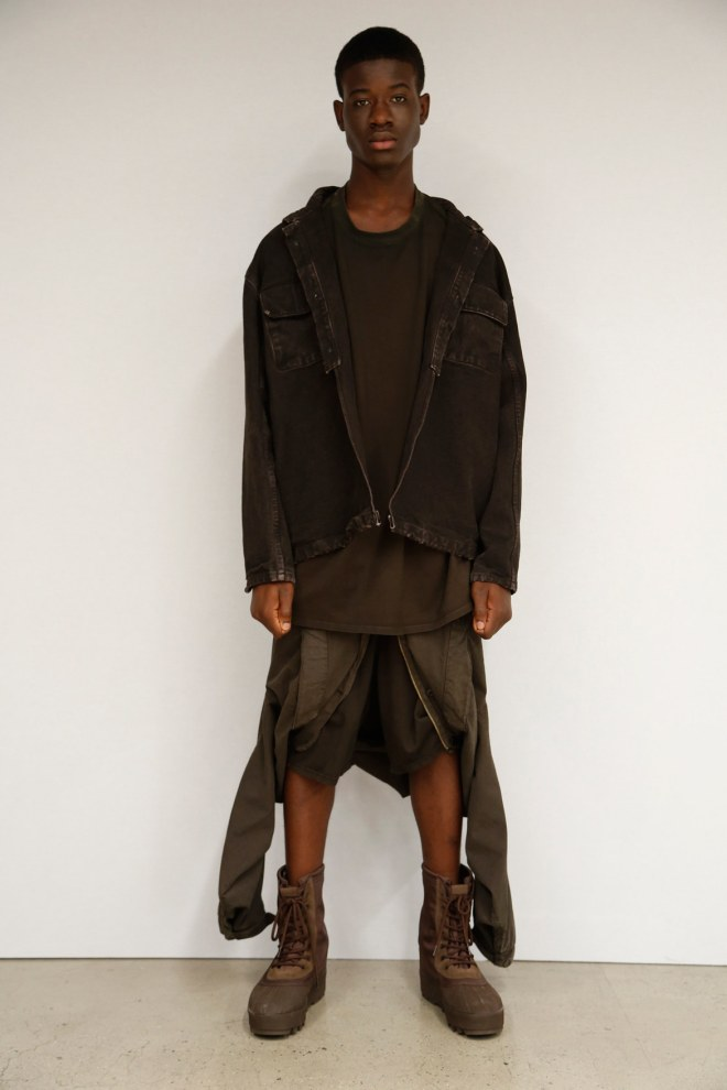 Yeezy Season 2 was a lot like Yeezy Season 1. As he did for his fall launch, Kanye West presented the second season of his men's and women's collaboration with Adidas through a performance conceptualized by Vanessa Beecroft. To a lesser scale, she's the Marina Abramovic to his Riccardo Tisci, though the mock-military formation Beecroft came up with for West's show couldn't compete with the poignancy of Givenchy last week.