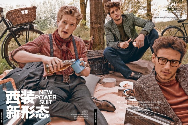 """Throwback a few months ago, """"New Power Suit"""" fashion editorial for GQ China August issue 2015, featuring Mariano Ontañón, Stephan Haurholm and Santiago Ferrari, styled by Grant Pearce and captured by Giampaolo Sgura."""