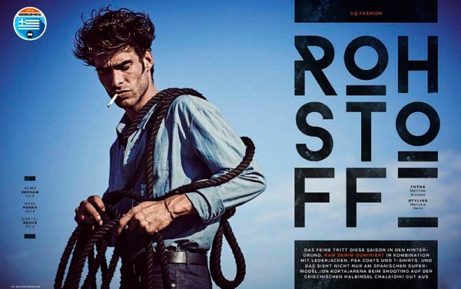 Spanish top model Jon Kortajarena is photographed by Matthew Brookes and styled by Manuela Hainz, for the November 2015 issue of GQ Germany.