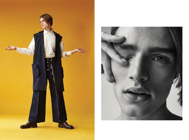 Left: White shirt: Liam Hodges Blue denim flares: Alex Mullins Blue deconstructed jacket: Agi & Sam Black loafers: Rokit Vintage