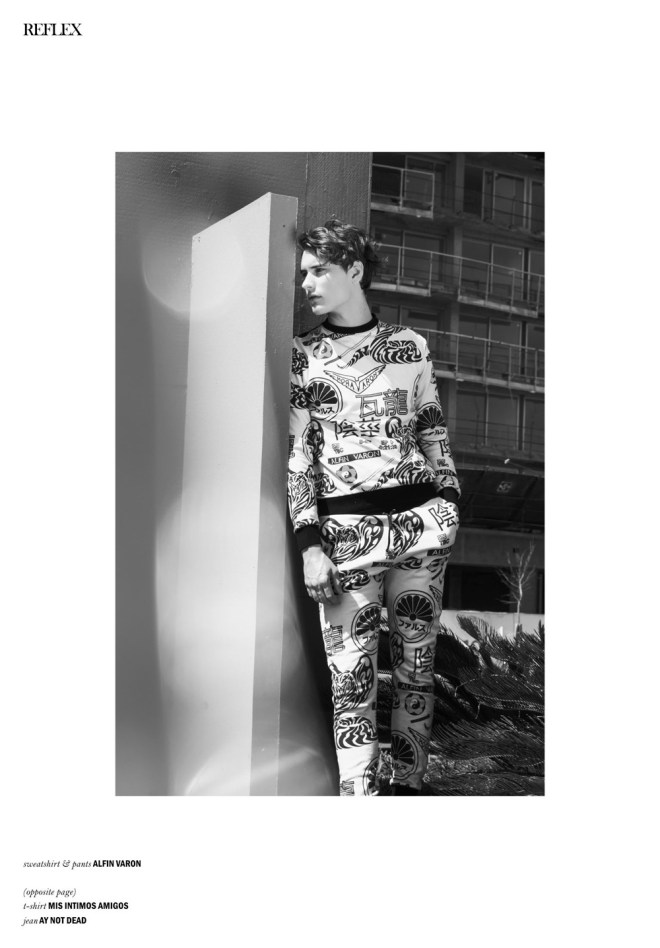 """In the """"Buffalo Issue"""" at Reflex Homme Magazine featuring the work of Ari Mendes and model Nicolás Lorenzon from SOFMODELS, entitled """"No Machines, Crystallize (Buffalo Boy)"""". Styled by María Teresa Gomez, Make up and hair by Ariel Coronel."""