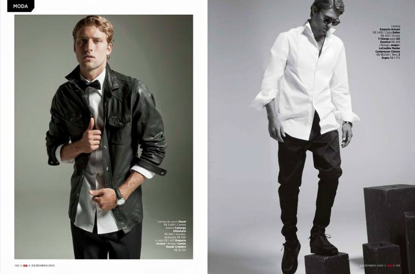 """Model Max Motta starring """"De Gala"""" in GQ Brazil December 2015, photographed by André Passos and styled by Giovanni Frasson. Fashion Editor Sylvain Justum, Hair/MUA: Jayme Vasconcellos."""