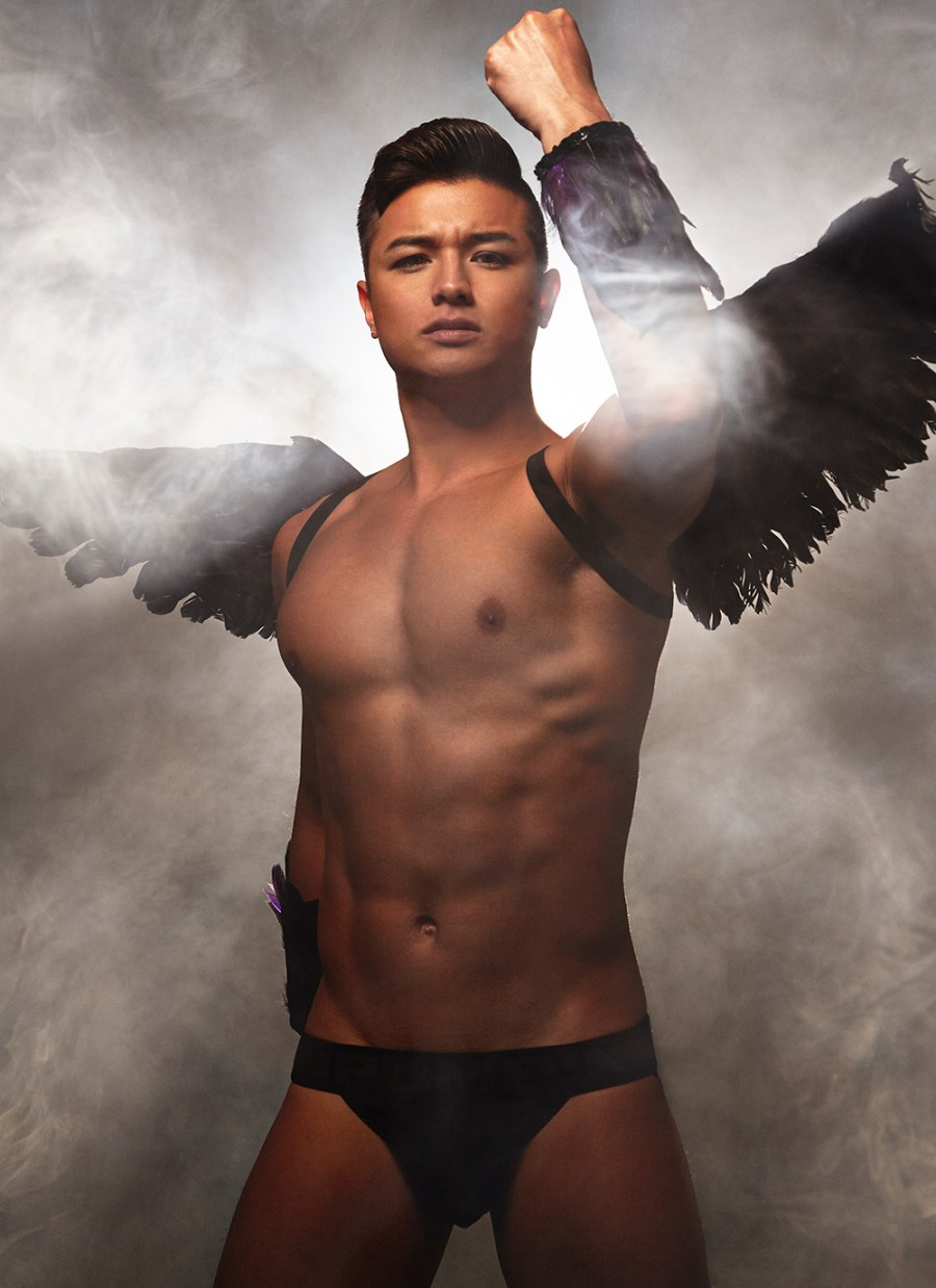 """I think this is the right time to exploring about having a good and a dark side in yourself.This stunning work entitled """"Angel and Archangel"""" by Kiet Thai it's about your good self battling the demons inside of you all showcased in fog, finding your self and obviously we have pecs, and abs by model Jimaye Nguyen."""
