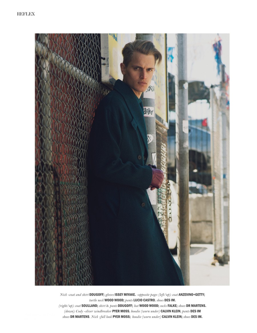 """Bushwick boys"" for REFLEX MAGAZINE photography by Raen Badua styled by Brendon Alexander and grooming by Eric Rosberg featuring models Nick Lagerburg & Cody Gilman at New York Models."
