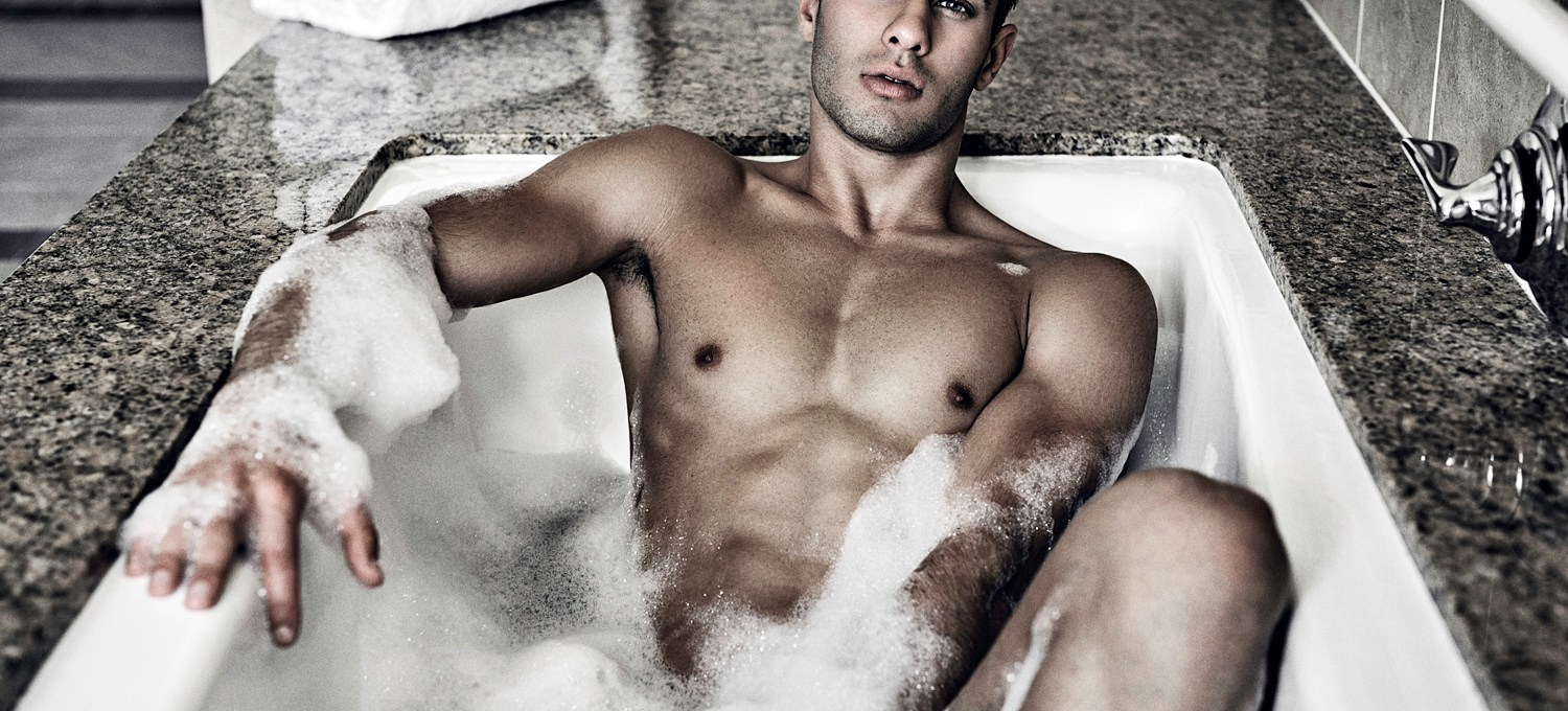 """""""Vanity"""" captured by Hayden Su with LA model Furkan Tan for Elegant Magazine. This is the first peek at the hot bath scene with Furkan."""