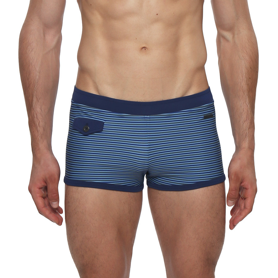The Claude Striped Ibiza Brief is the square-cut swimsuit with a sexy yet sophisticated appeal. Think James Bond, and who wouldn't want to feel like 007 by the water? This swim brief features contrast cross color blocking, contrasting coin pocket, contoured support, and full lining.